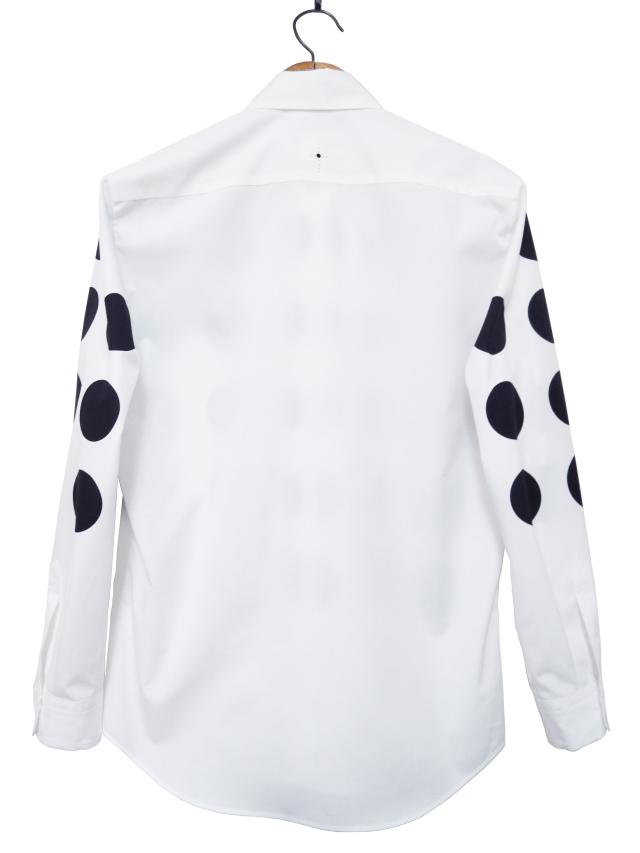 メンズシャツ、プリント、長袖、ブロード、水玉