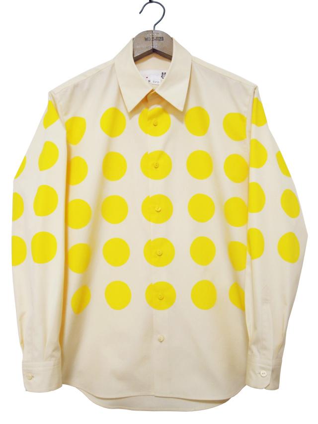 メンズシャツ、プリント、長袖、ブロード、ドット