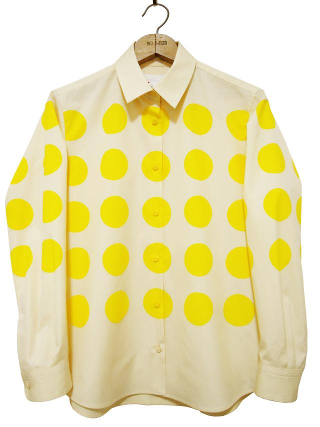 レディスシャツ、プリント、長袖、ブロード、水玉