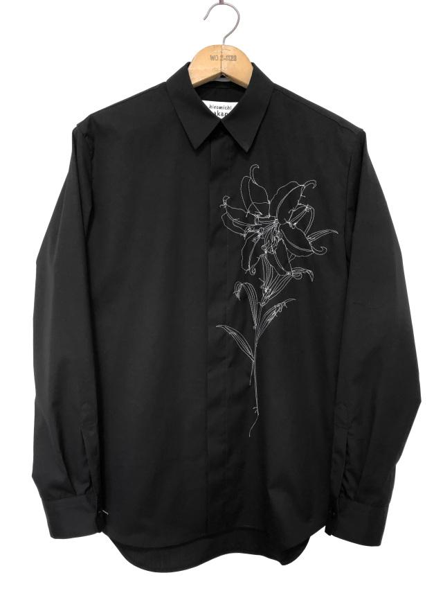 シャツ、ブロード、刺繍、メンズ、長袖