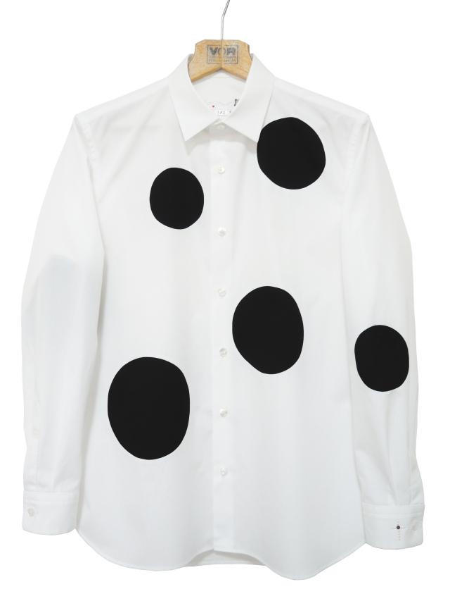 モノトーン,綿,メンズシャツ,水玉,ドット