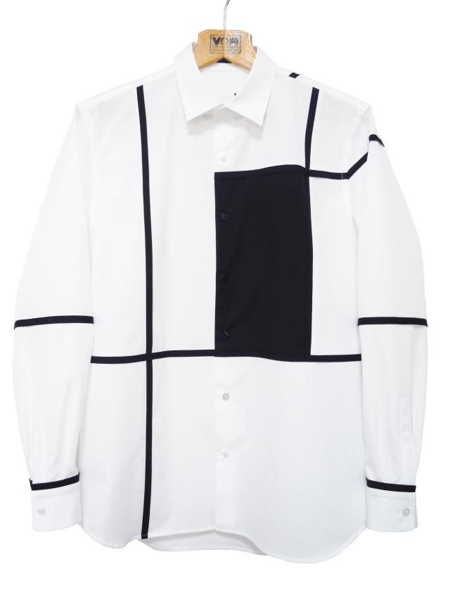 長袖,モノトーン,メンズシャツ,ブロッキング,綿