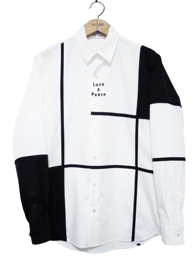ブロッキング、シャツ、ブロード、切替、長袖