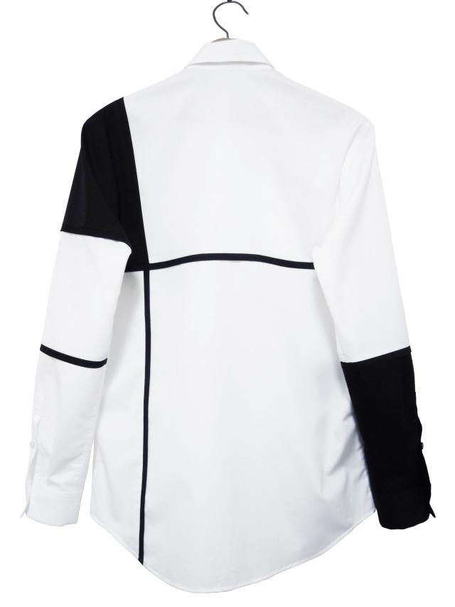モノトーン、シャツ、ブロード、パッチワーク、長袖