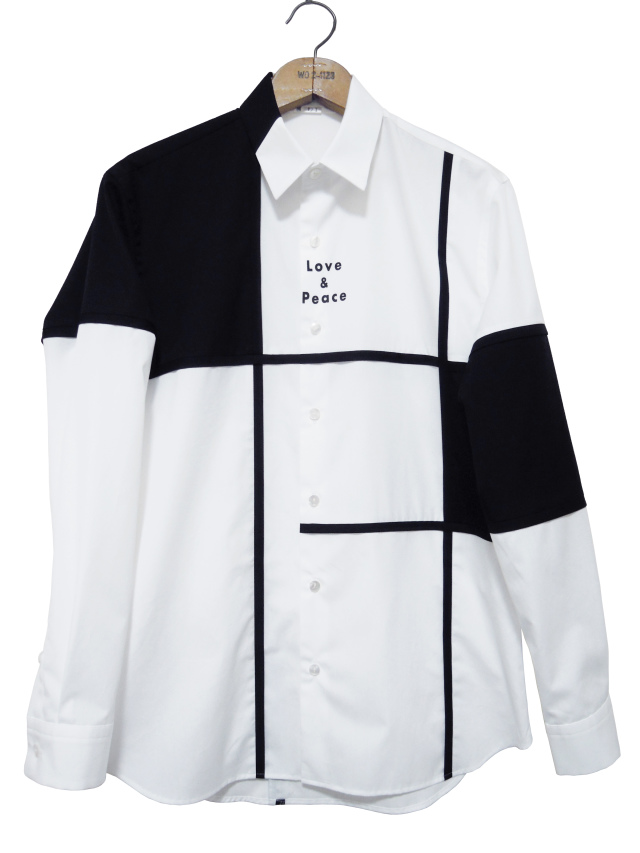 プリント、シャツ、ブロード、切替、長袖