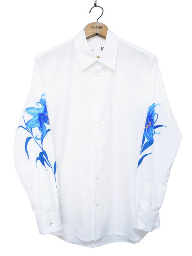 メンズシャツ、長袖、ゆり、プリント、ブロード
