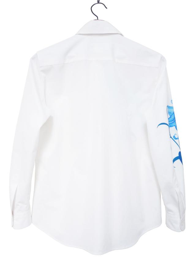 レディスシャツ、プリント、長袖、ブロード、綿