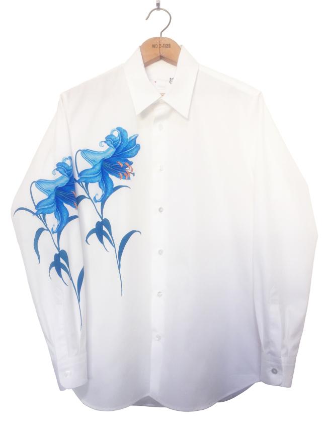 メンズシャツ、プリント、長袖、ブロード、綿