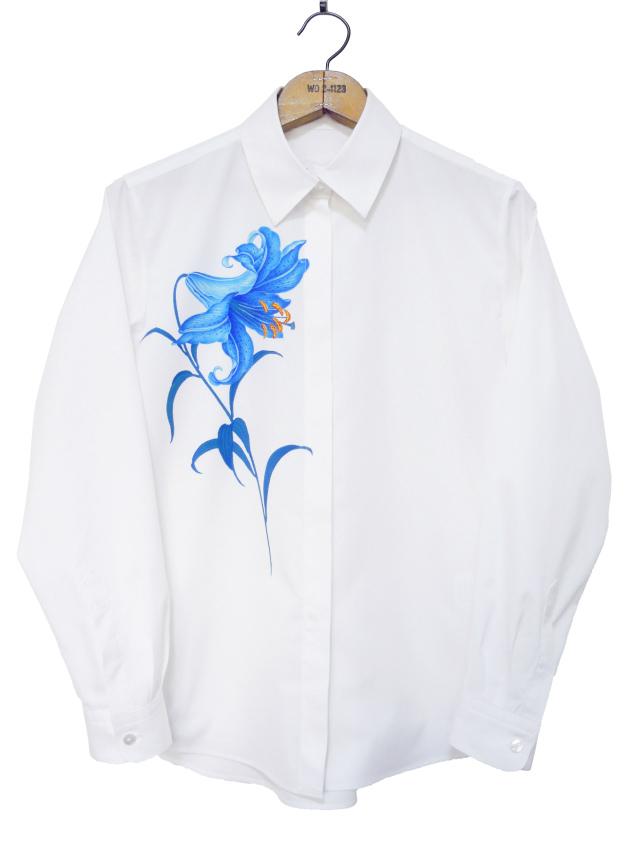 レディスシャツ、プリント、長袖、ブロード、ゆり