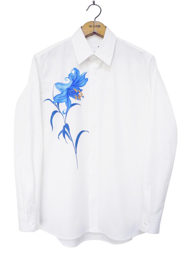 メンズシャツ、プリント、長袖、ブロード、ゆり
