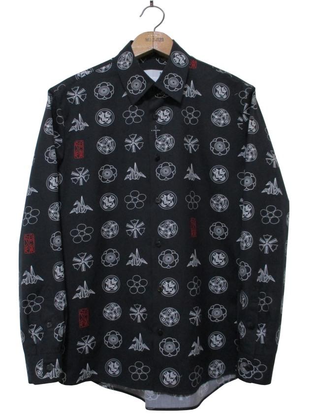 プリント、家紋、ユニセックス、長袖、シャツ