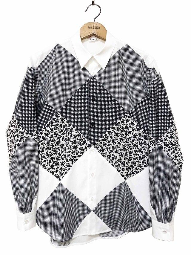 シャツ、ブロード、パッチワーク、メンズ、切替