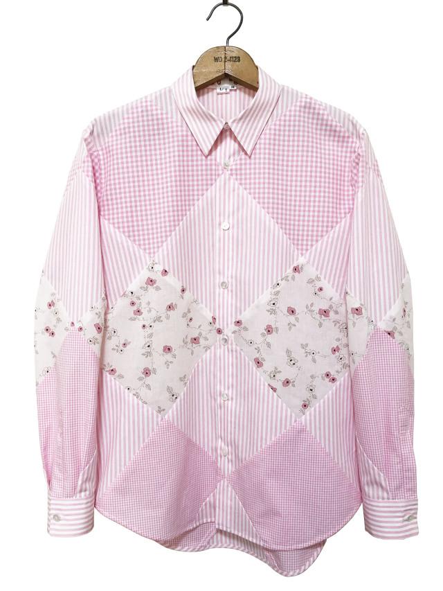 シャツ、ブロード、パッチワーク、メンズ、ピンク