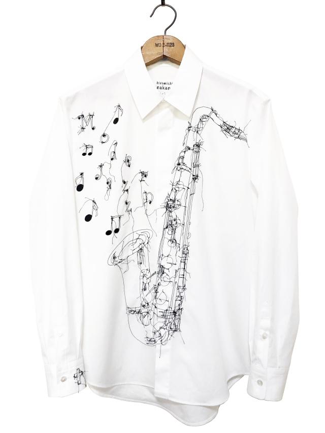 シャツ、ブロード、刺繍、メンズ、サックス