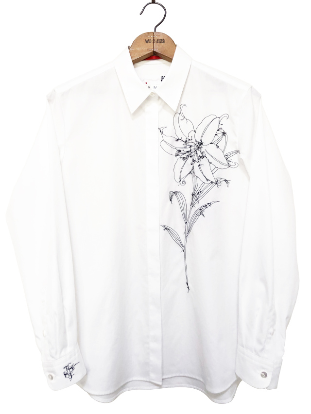 シャツ、ブロード、刺繍、レディース、百合