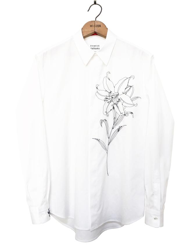 シャツ、ブロード、刺繍、メンズ、百合