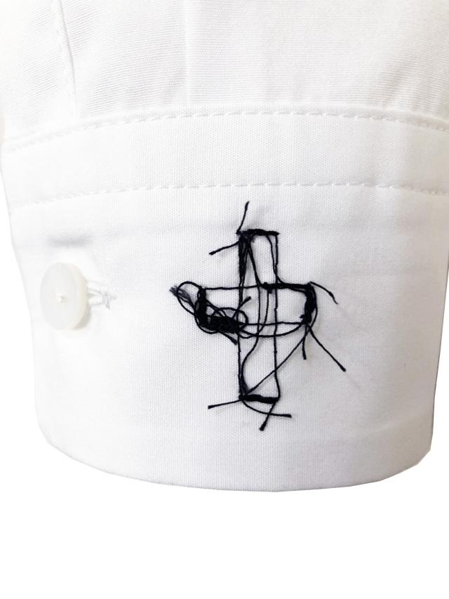 シャツ、ブロード、刺繍、ステッチ、クロス