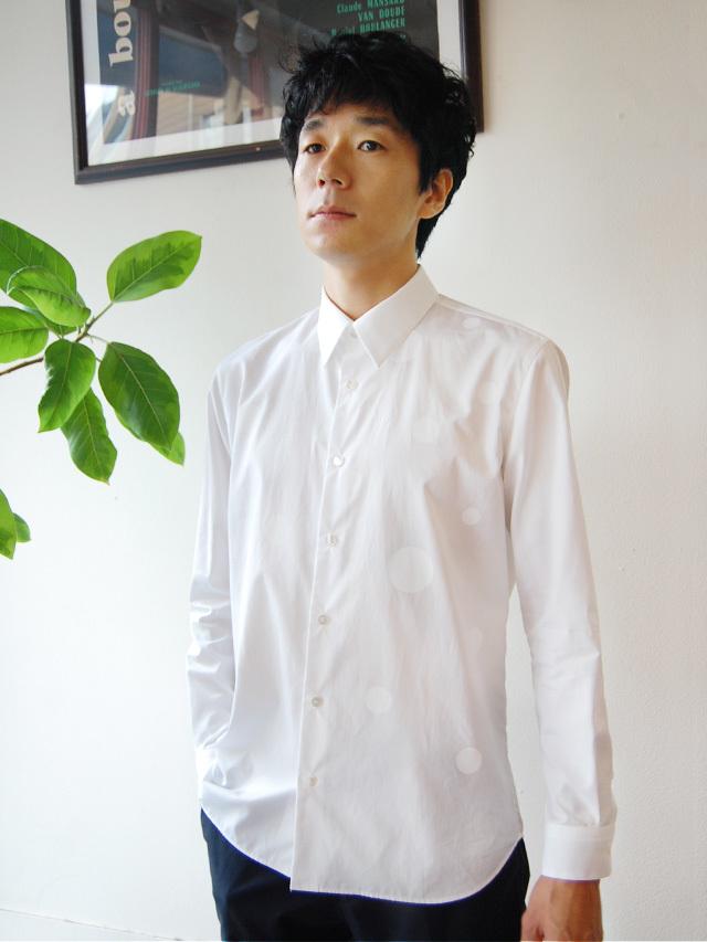 100/2ブロード ドットプリントメンズシャツ