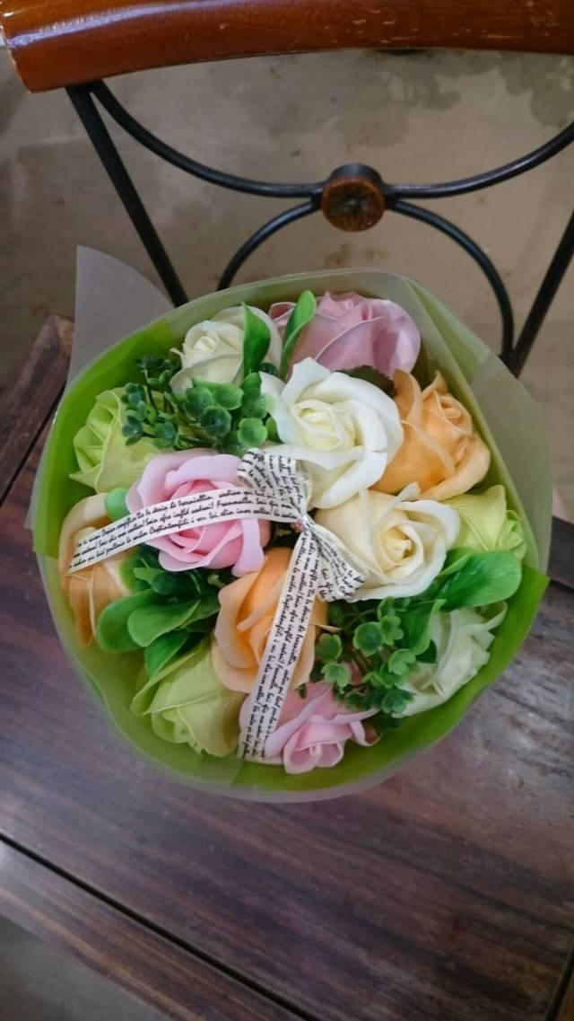 【ソープの香りのブーケ】フレグランスソープフラワー(グリーン)