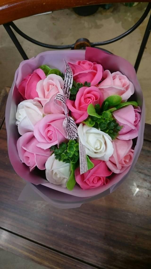 【ソープの香りのブーケ】フレグランスソープフラワー(ピンク)