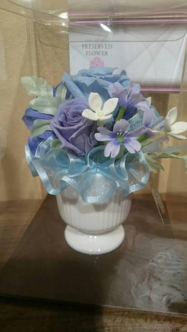 【枯れない花】ブリザーブドフラワー(ブルー)