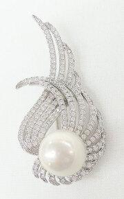 オーロラリップル真珠&CZ フェザーモチーフ ブローチ