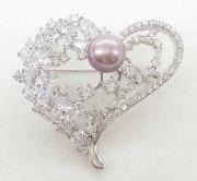 オーロラリップル真珠&CZ ハート ペンダント/ブローチ
