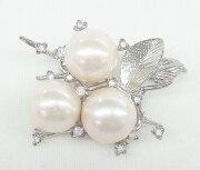 オーロラリップル真珠&CZ ブランチモチーフ ブローチ