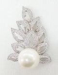オーロラリップル真珠&CZ リーフモチーフ ブローチ