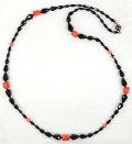 珊瑚 ブラックカラー ティアドロップ ネックレス