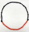 珊瑚&ブラックカラー デザイン ネックレス