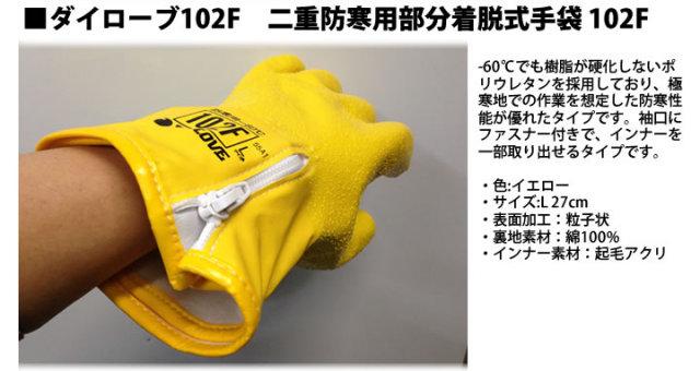 ダイローブ102F 二重防寒用部分着脱式手袋 102F
