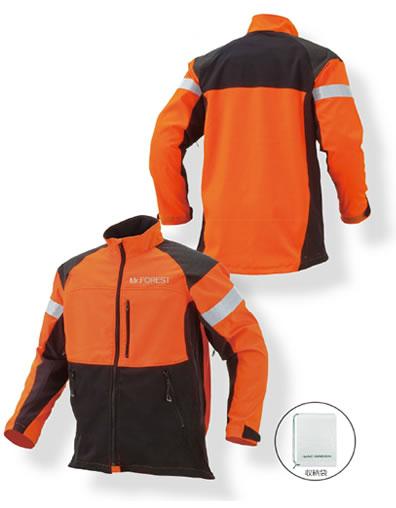 MrFOREST ミスターフォレスト チェンソー作業用スーツ ジャケット MT515 M L LL 蛍光オレンジ ブラック