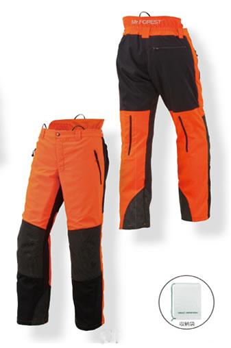 MrFOREST ミスターフォレスト チェンソー作業用スーツ 防護ズボン MT532 M L LL 蛍光オレンジ ブラック
