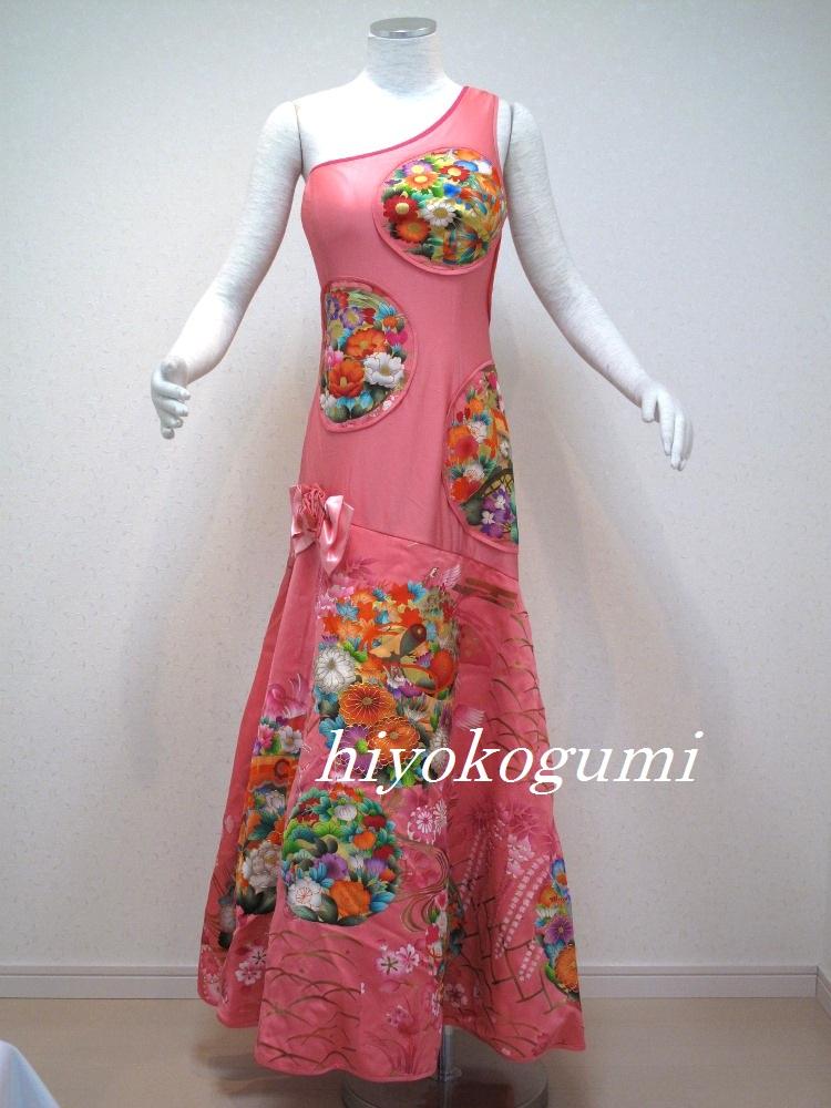 M798 正絹着物反物生地使用の和柄ドレス
