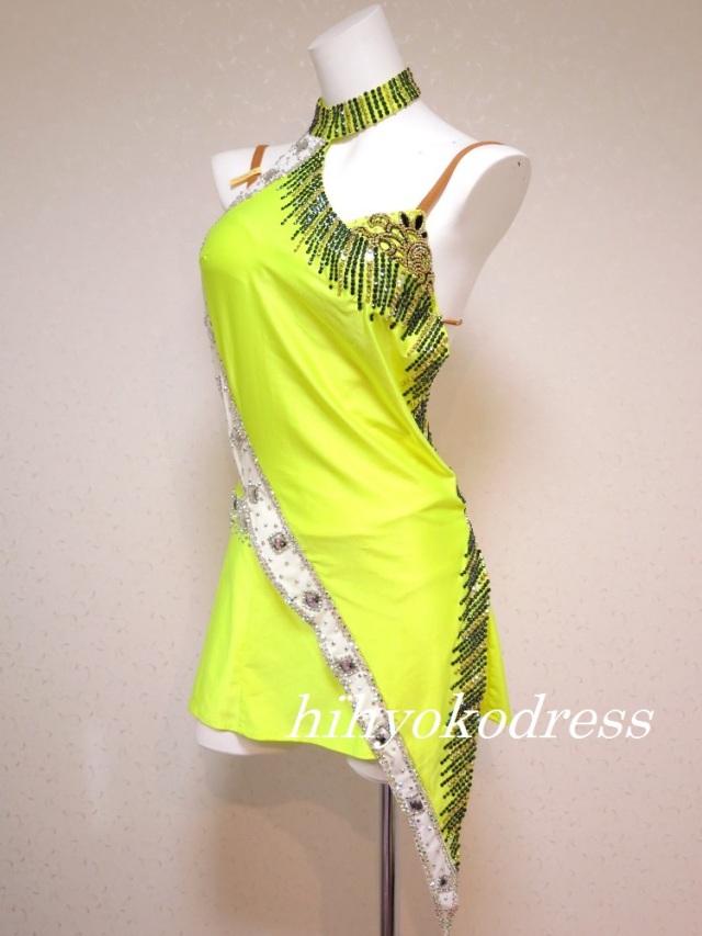 L1026 蛍光黄色のラテンドレス