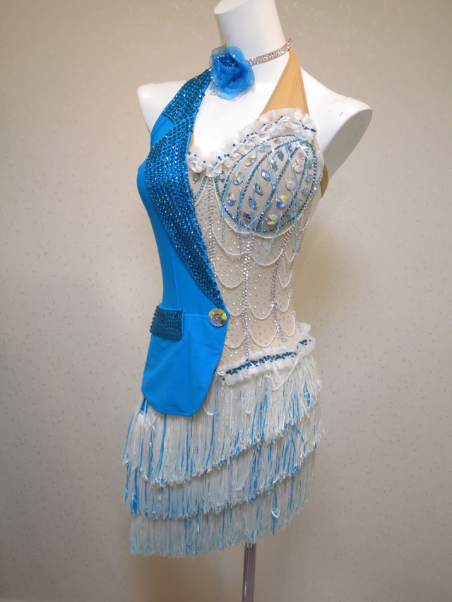 L1162 グランドアムール製 白とターコイズブルーフリンジのドレス