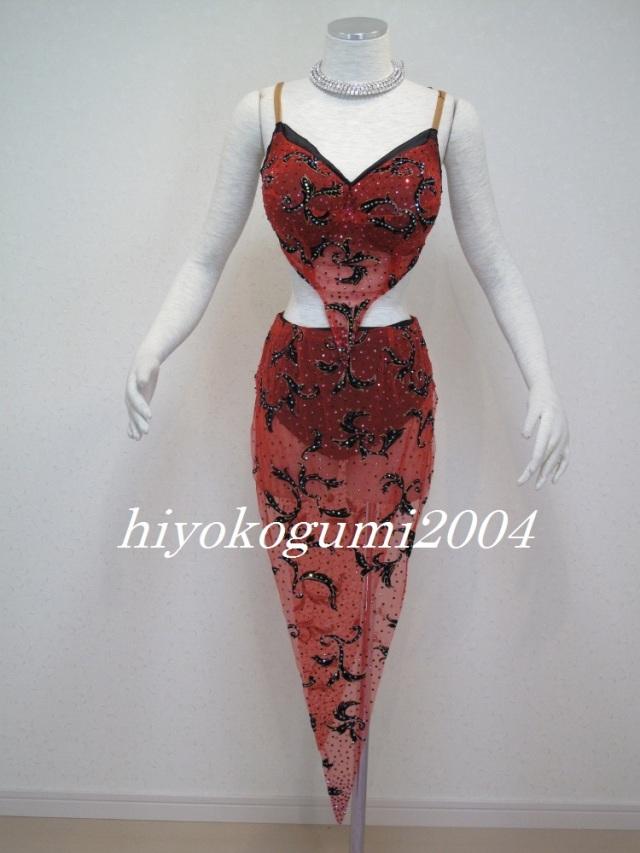 L786オーダードレス 赤黒ラテンドレス