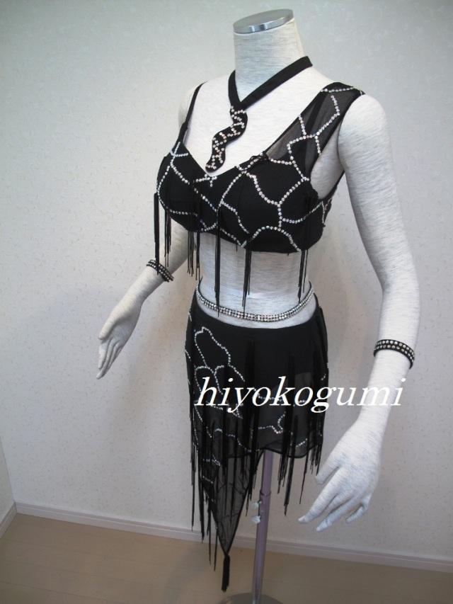 L791 オーダードレス 黒フリンジ ラテンドレス