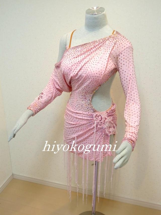L878ピンク ミニ丈のラテンドレス