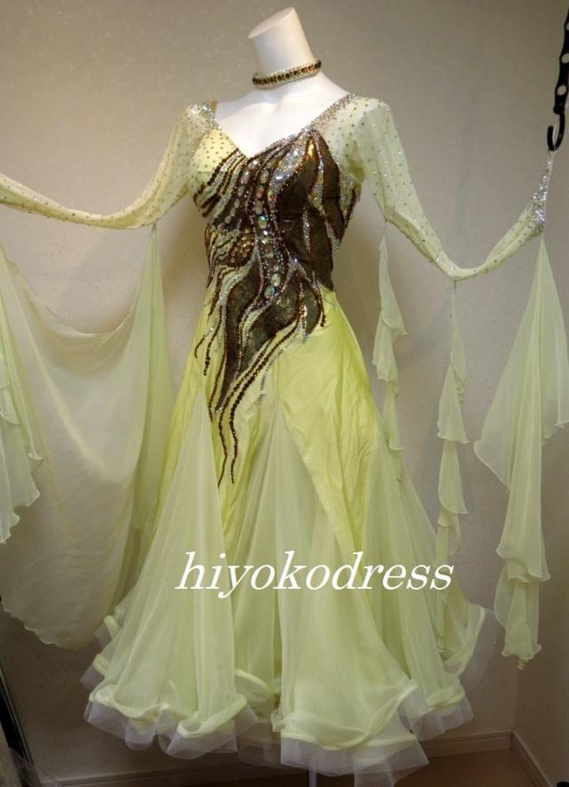 M1107 淡いイエローゴールドドレス