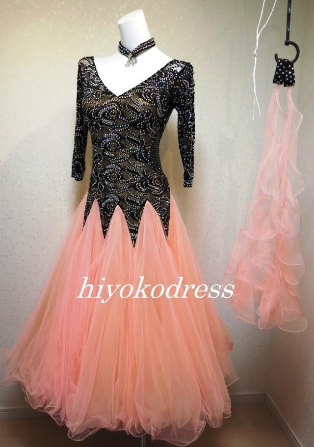 M1164 黒とオレンジのスタンダードドレス