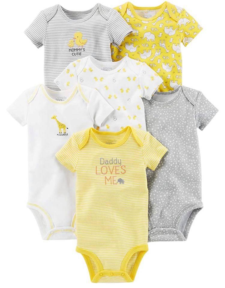 小さな赤ちゃんのための肌着。低出生体重児、未熟児ちゃん、NICUからの退院用に。半袖6枚セット、イエロー&グレー。