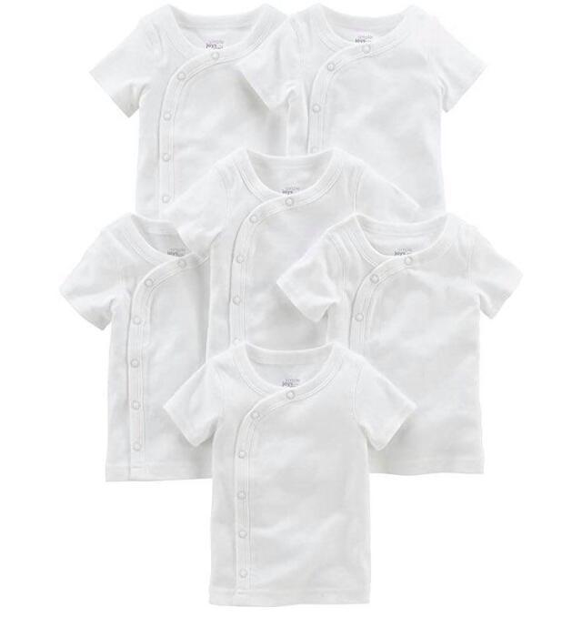 小さな赤ちゃんのための肌着。低出生体重児、未熟児ちゃん、NICUからの退院用に。短肌着、半そで、6枚セット。