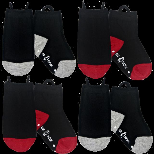障害児、医療的ケア児、ダウン症、発達障害など、指先の力が弱いお子さんでも簡単に履けるループ付き靴下です。