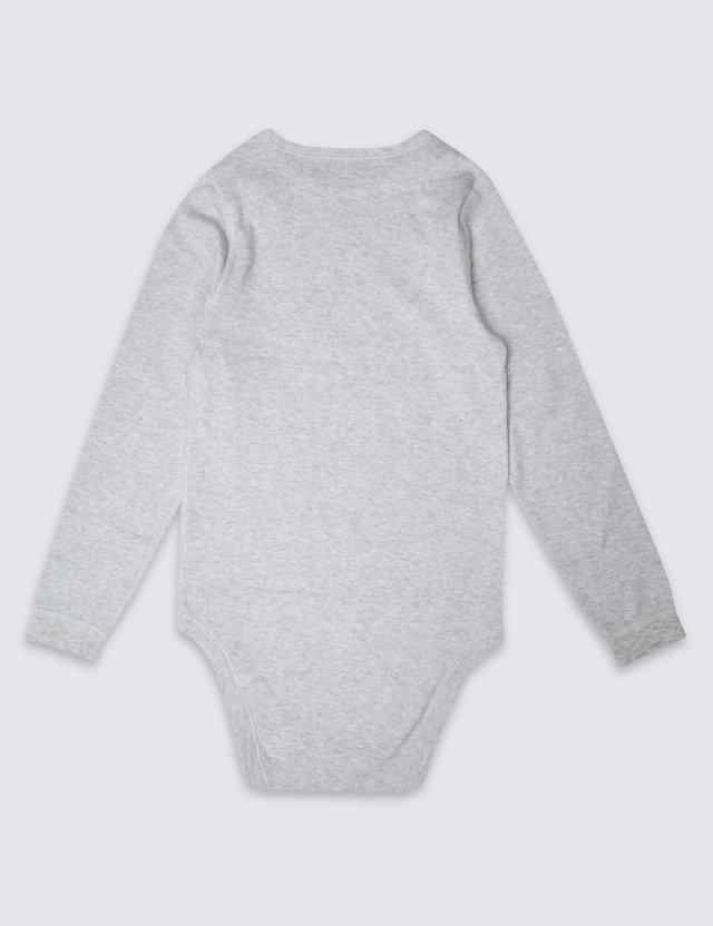 障害児、医療的ケア児むけロンパース肌着。大きいサイズ。グレー、長袖、背面。