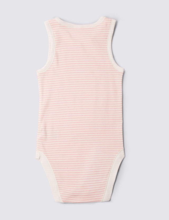 障害児、医療的ケア児むけロンパース肌着。介護用。ノースリーブ。 背面、ピンク。