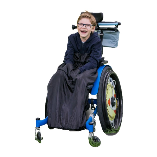 障害児、医療的ケア児、車いすやバギーのための防寒介護用フリースレッグカバー。ブラック。