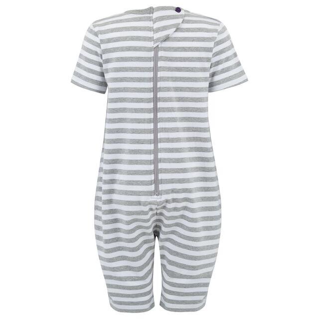 オムツいじり対策用つなぎパジャマ。障害児むけ介護用子供服。半袖長ズボン、グレーボーダー。背面。