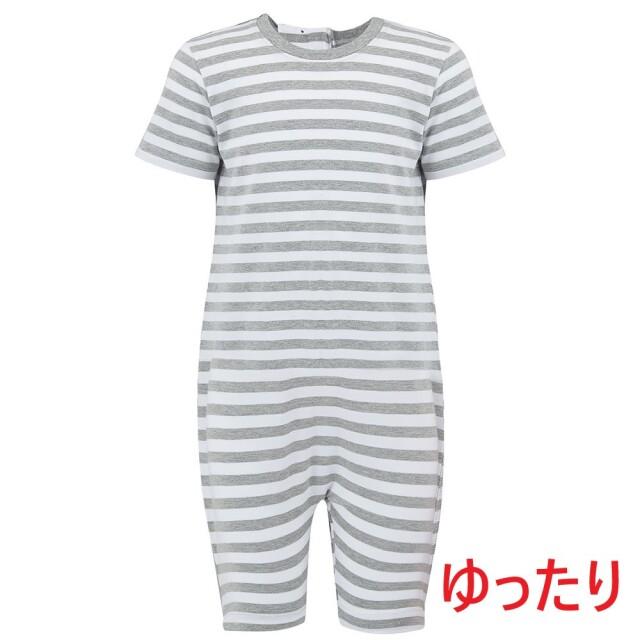 オムツいじり対策用つなぎパジャマ。障害児むけ介護用子供服。半袖半ズボン、グレーボーダー。